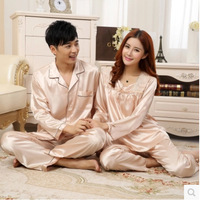 カップル男と妻のナイトウェアパジャマセットでターンダウン襟シルク長袖布+ロングパンツホーム着用ドロップ無