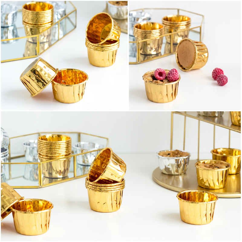 100pcs/set Golden /silver Cup Cake Cup, Wedding Shower Rolled Edge Cake Cup, Baking High Temperature Resistant
