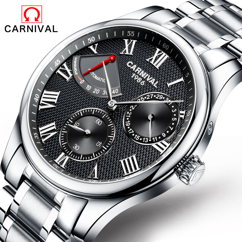 Carnival Mens High Quality Automatic mechanical Watches Men Top Brand Luxury Dive 30M Business full steel watch Man Clcok new business watches men top quality automatic men watch factory shop free shipping wrg8053m4t2