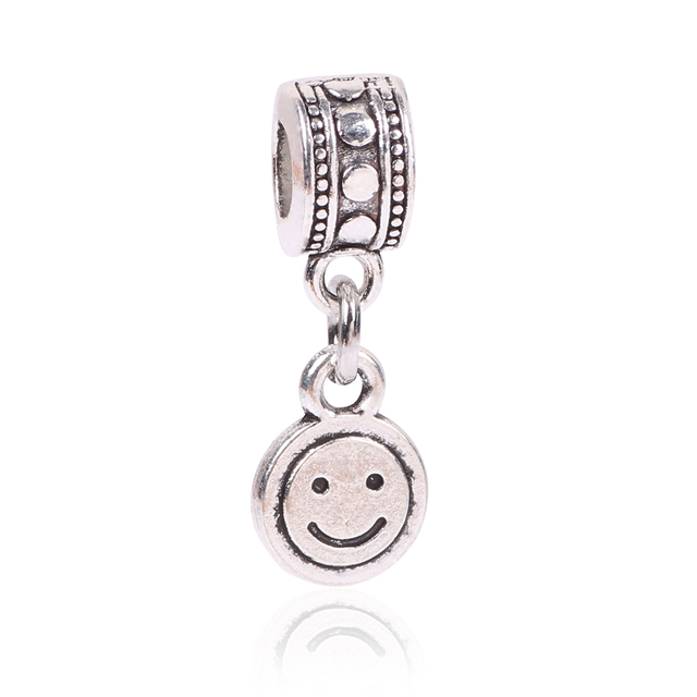 638de674f ... italy free shipping white silver european smiley face hanging bead charm  fits european pandora charm bracelets