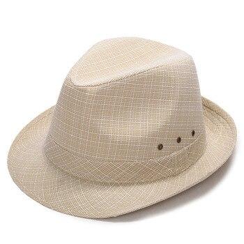 Verano hombres sol sombrero Lino viaje al aire libre playa Jazz Casual Fedora Cap NFE99