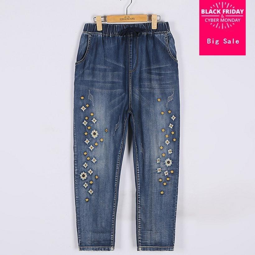 2XL-7XL Plus size new fashion embroidery flower pattern cotton   jeans   2017 women wide leg   jeans   denim Bleached   jeans   wj741