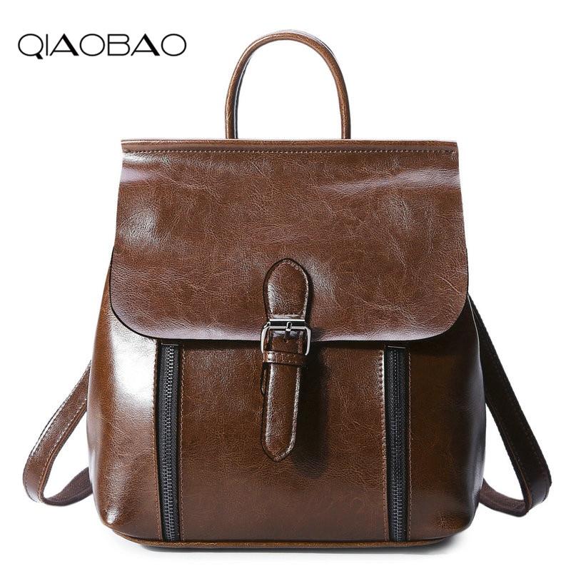 QIAOBAO 100 Genuine Leather Backpack Women Casual Fashion Cowskin Backpack Teenage Girls School Travel Bags Shoulder