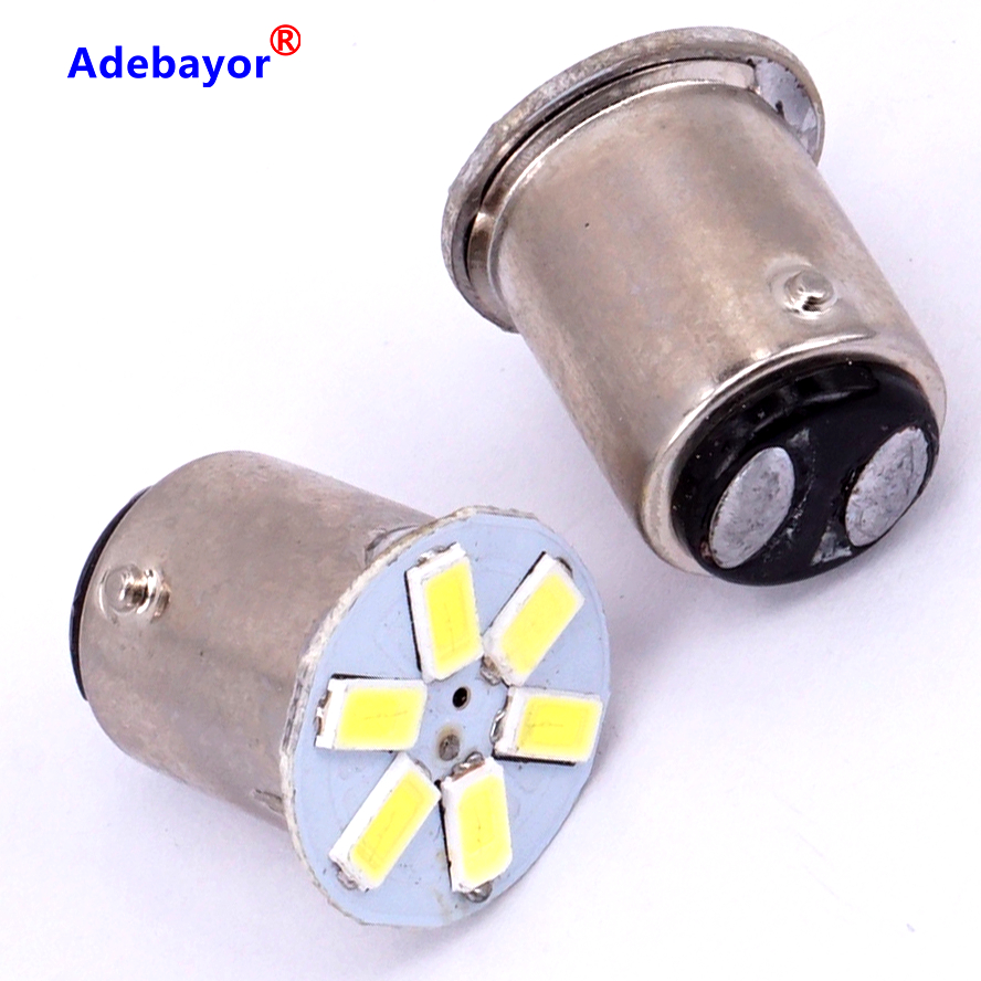 10X1157 baY15d P21/4 W 5630 SMD 6 светодиодный P21/5 Вт автомобильный боковой хвост стояночный тормоз двойной контакт лампочки лампы белого цвета