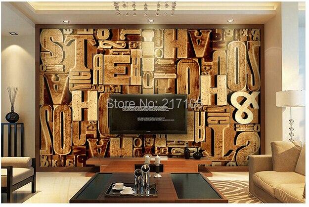 Kundenspezifische Retro Tapete. Holzschnitzerei Englisch Letter.3D Tapeten  Wandbilder Für Wohnzimmer Schlafzimmer TV Wand