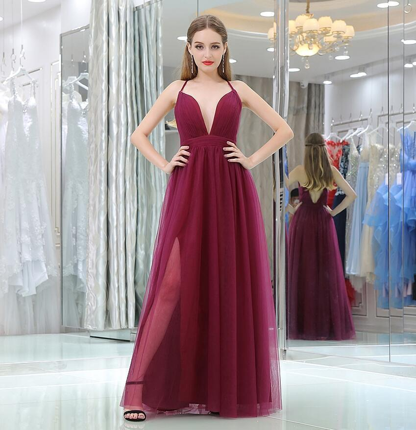 Burgundy   Prom     Dress   New Arrival Simple Deep V Neck Tulle Long Evening Party Gown Plus Size Custom Made Vestido Azul Marino