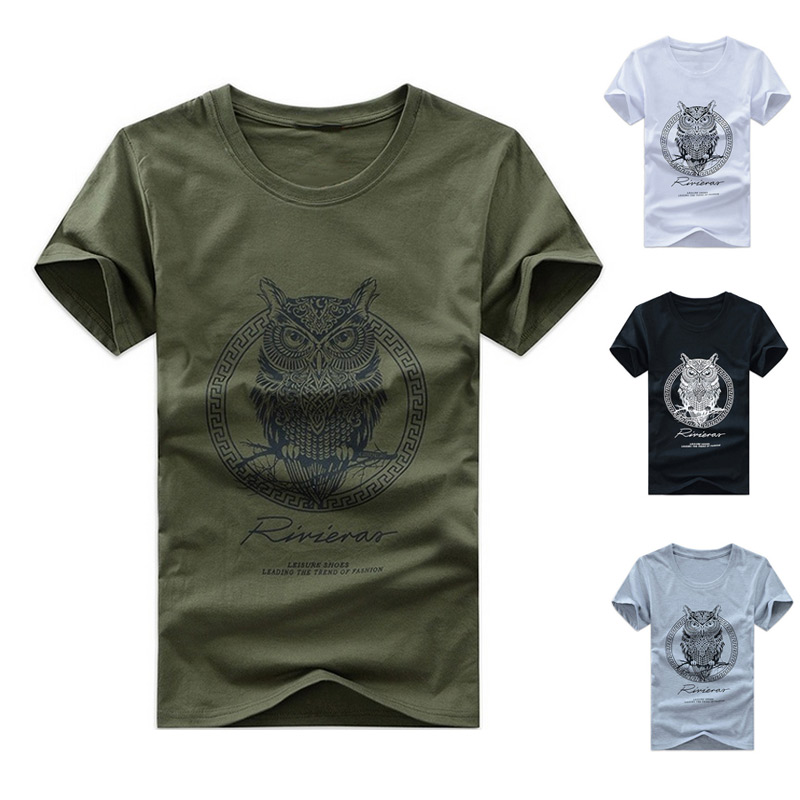 Fashion Men Cotton Short Sleeve T-shirt Owl Print Summer Casual Night Bird O-neck T-shirts Tee Tops H9