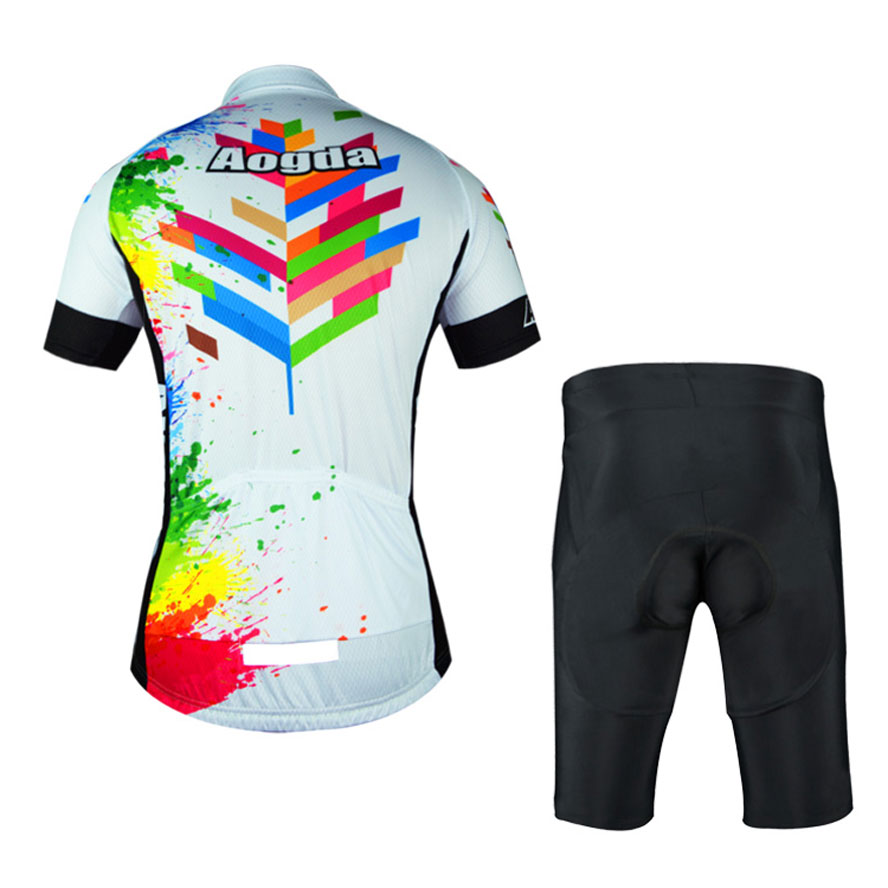 Aogda Men/'s Cycling Kit Cycle Jersey Padded Shorts Set Splashing Colourful Bib