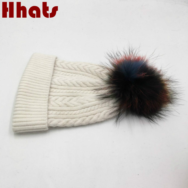 Which in shower women genuine woolen winter hat real dyeing colorful fur pompom cable knitted female wool beanies warm bonnet real cable cr2510 2c 4pcs