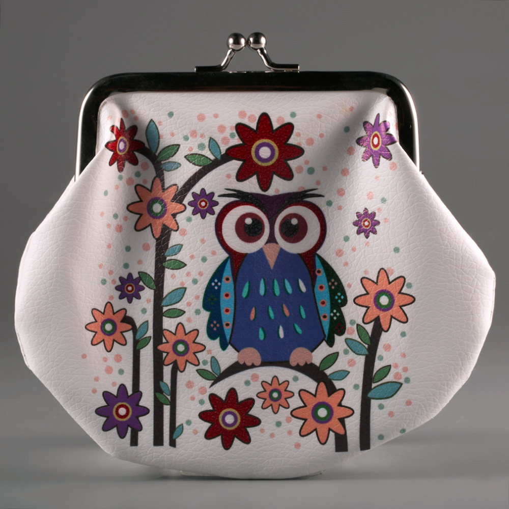 Fashion Classic Style Coin Purse Lady Thin PU Leather Animals Owl Wallet Card Holder Coin Purse Clutch Handbag