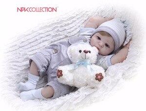 NPK Real 57CM Full Body Silicone Boy Reborn Babies Bear Doll Toys Princess Babies Doll Wig Hair Birthday Gift Kids Brinquedos(China)