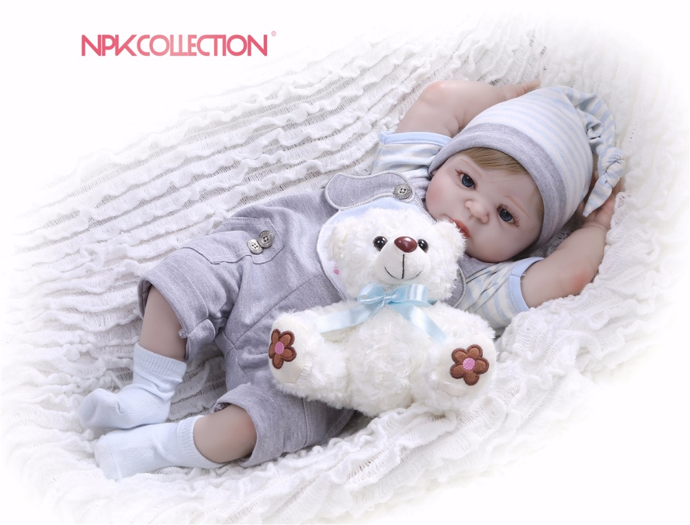 NPK prawdziwe 57 CM całego ciała silikonu chłopiec Reborn Babies niedźwiedź lalki księżniczka dzieci peruka dla lalki do włosów prezent urodzinowy dla dzieci Brinquedos w Lalki od Zabawki i hobby na  Grupa 1