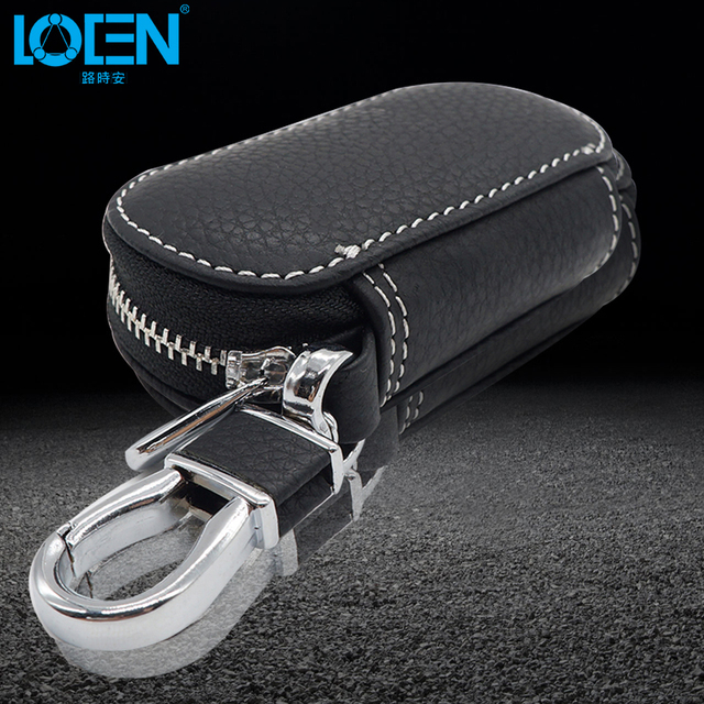 LOEN Car Leather Bag Key Case For Car Keychain Key Cover Case wallet For volvo starline Kia Honda BMW Audi Benz car-styling