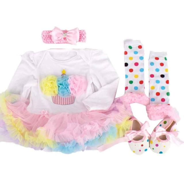 Newborn Baby Girl Tutu Dress Sets 4Pcs Outfits Clothes Bodysuit Jan18