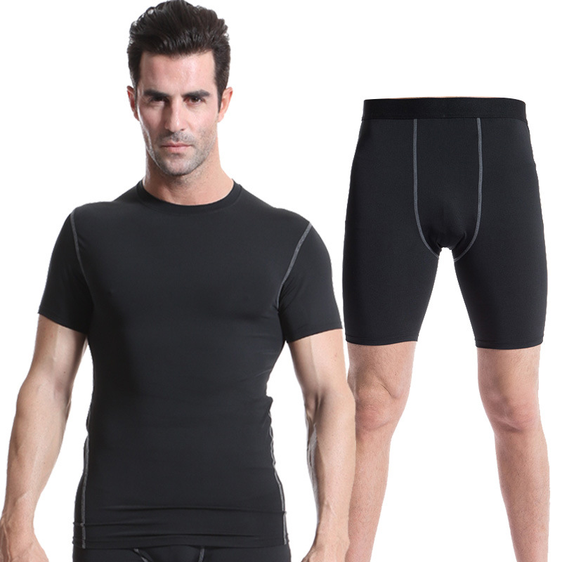 Mens Sports set 2pcs compression sets tracksuit men bodybuilding tanktop gym fitness sweatsuit workout clothes jumpers outfits