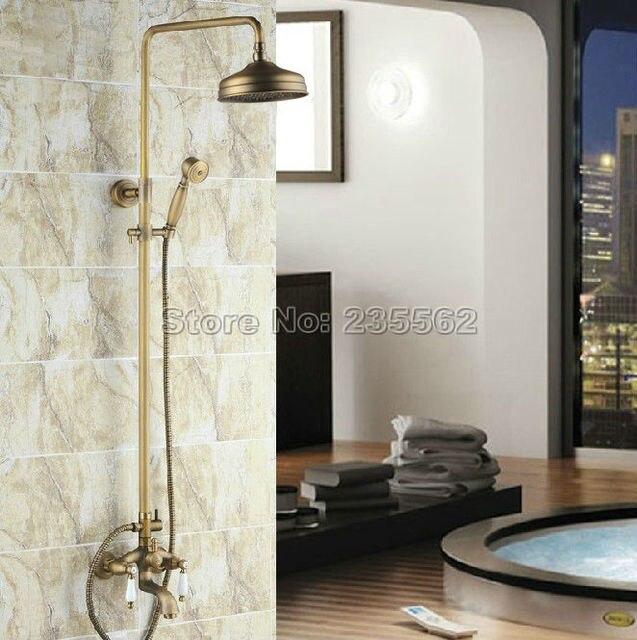 Us 130 19 30 Off Kuningan Antik Retro Kamar Mandi Bathtub Dinding Hujan Kran Shower Set Tekan Mixer Keran Crs004 Di Shower Kran Dari Perbaikan Rumah