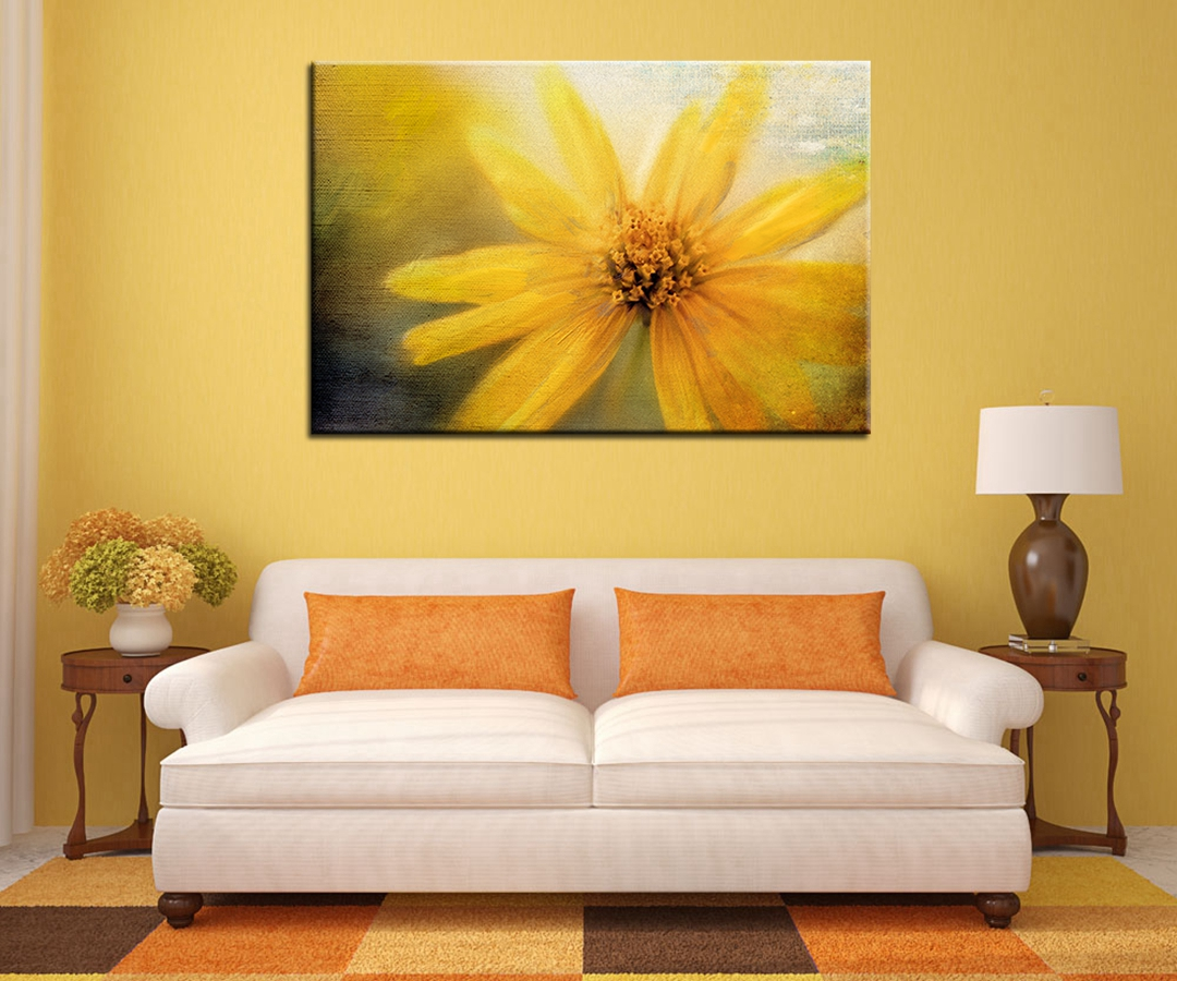 Beautiful Yellow Flower Chrysanthemum Oil Landscape Painting for ...