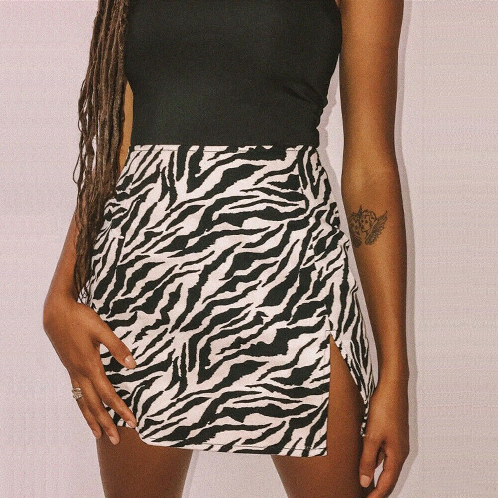 Women Mini High Waist Leopard Zebra Print Side Split Clubwear Evening Party Skirt Casual Short Elegant Straight Soft Skirts