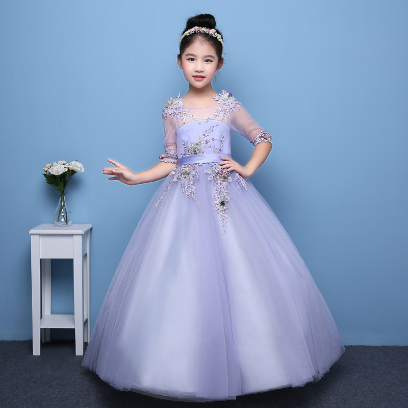 New Children Girls Fashion Birthday Wedding Holiday Party Ball Gown Lace Dress Kids Costume Performance Mesh Dress For 3~15years muqgew new fashion 2018 children party
