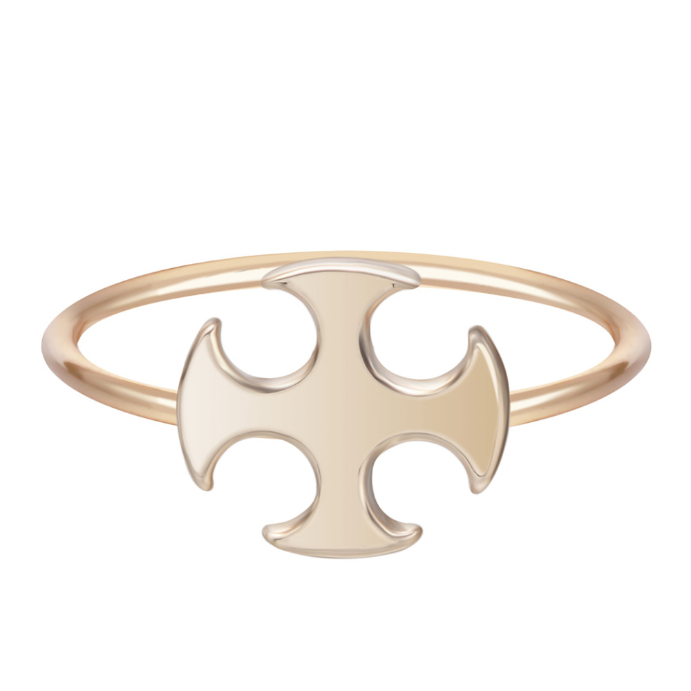 Kinitial Cross Rings Crucifix Religious Four Leaf Ring for Women Party Finger Gold/Silver Plated Jewelry Gift