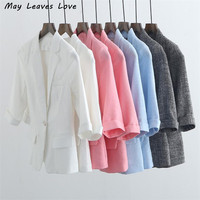 May Leaves Love Plus Size 2017 Spring Summer Slim Solid Three Quarter Sleeve Casual Women Blazers