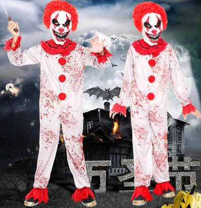 scary clown jumpsuit for children clown costume kids halloween costume  zombie costume clothes funny cosplay for children