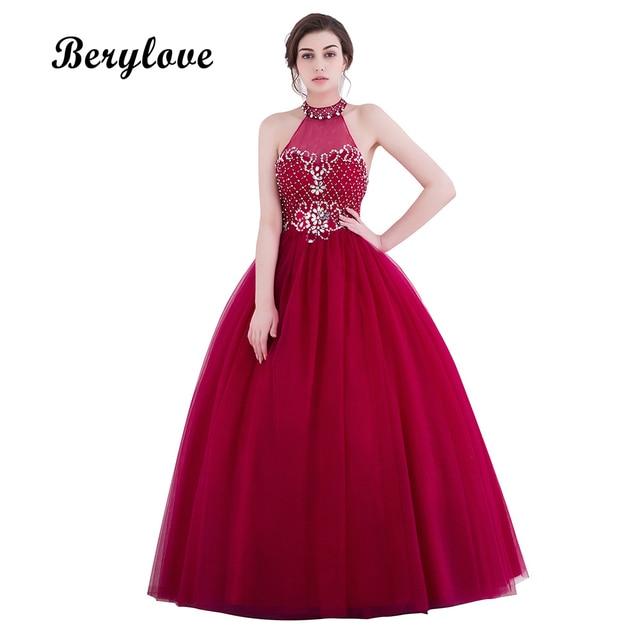 BeryLove Burgundy Ball Gown Quinceanera Dresses 2018 Long Beaded ...