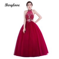 BeryLove Burgundy Ball Gown Quinceanera Dresses 2018 Long Beaded Tulle Quinceanera Gowns Women Graduation Dresses Plus Size
