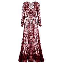 Sexy Lace See Through Dresses Summer Deep V Neck Women Floor Length Loose Solid Long Sleeve
