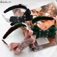 New Fashion Ribbon Bow Runway Crystal Hair Hoop Silk Bride Wedding Tiara Female Gem Flower Hairband