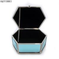 GQIYIBBEI Glass Material Blue Hexagon Jewelry Storage Box Metal Frame For Earrings Necklaces Bracelets Organizer Wristwatch