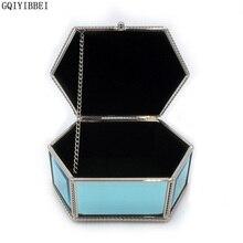 Gqiyibbei Стекло Материал синий шестиугольник Ювелирные Коробка для хранения металла Рамка для Серьги, Ожерелья для мужчин, Браслеты Организатор наручные часы Box