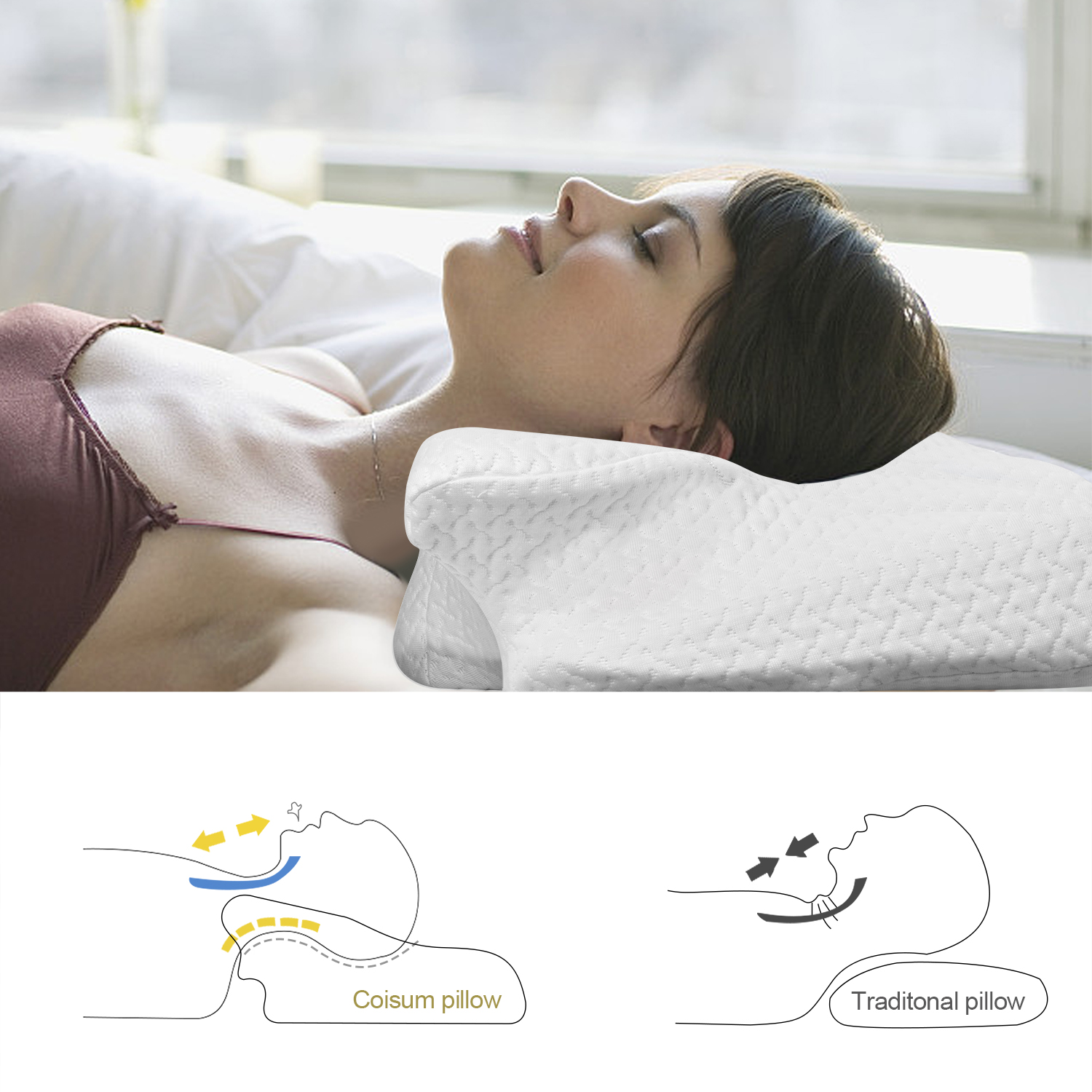 Image 3 - CPAP PillowMemory Foam Neck PillowMassage Ergonomic Anti snoring Sleeping Pillow Aid Bedding Supplies with Pillowcase-in Sleep & Snoring from Beauty & Health