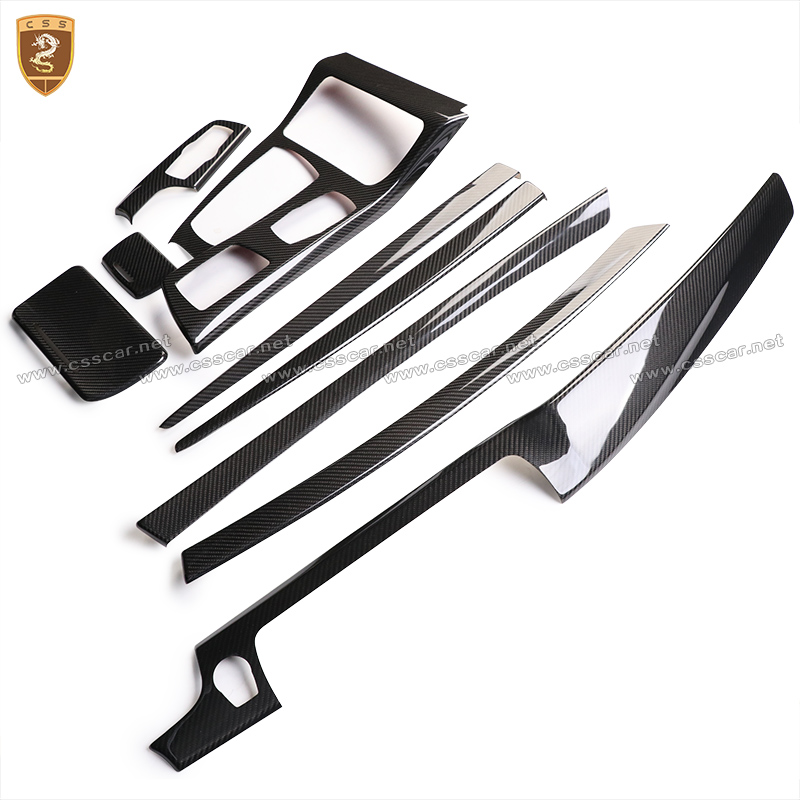 Full Carbon Fiber Interior Dashboard Trim Covers For BMW 5 Series f10 2011 2012 2013 2014 2015 2016 2017 chrome 3pcs interior head light lamp switch button cover trim for bmw 5 series f10 2011 2012 2013 2014 car styling