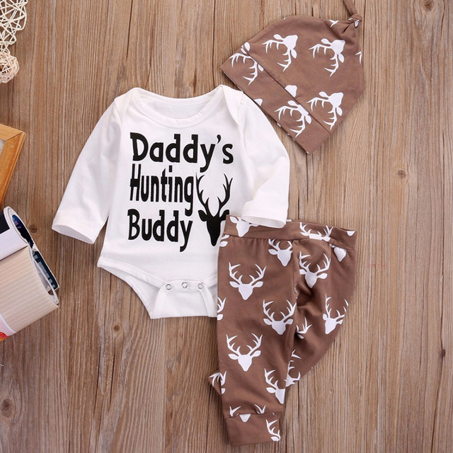 38ec9248 3PCS Newborn Infant Baby Boys Girls Clothes Cotton Daddy's Hunting Buddy Romper  Deer Deer Pants Hat Outfits Toddle Clothing Set