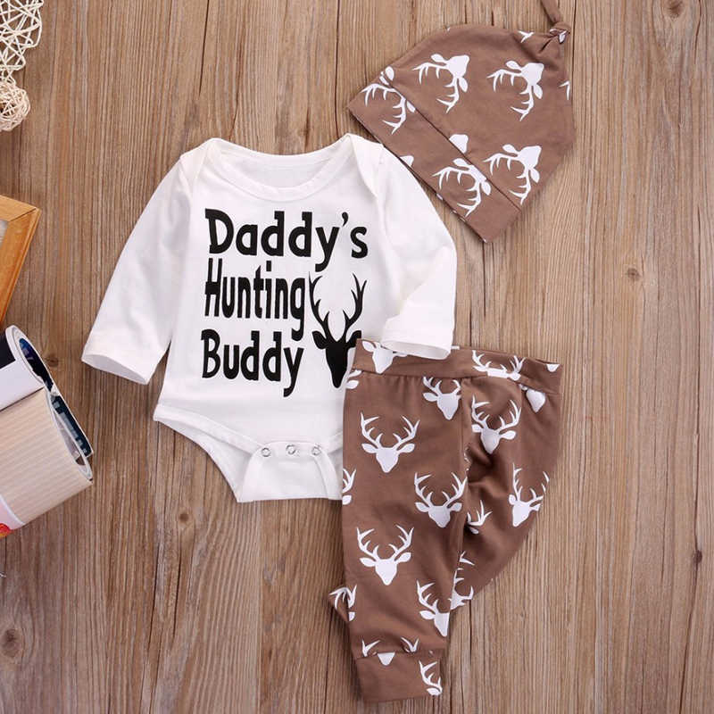 63cd9db57c1 3PCS Newborn Infant Baby Boys Girls Clothes Cotton Daddy s Hunting Buddy  Romper Deer Deer Pants Hat