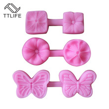 TTLIFE Butterfly Flower Silicone Mould Embossed Fondant Cake Decorating Tools Fimo Clay Candy Jelly Chocolate Gumpaste Molds
