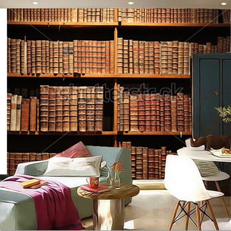 100% Waar Custom 3d Muurschilderingen, Houten Boekenplank Met Antieke Boeken., Woonkamer Sofa Tv Muur Kinderen Slaapkamer Behang Dingen Gemakkelijk Maken Voor Klanten