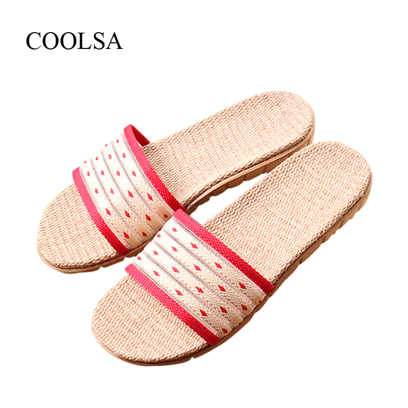 COOLSA Brand Women's Linen Slippers Summer Home Indoor Slippers Flat Hollow Beach Bathroom Non-slip Slippers Mujer Zapatos Hot coolsa women s summer flat cross belt linen slippers breathable indoor slippers women s multi colors non slip beach flip flops