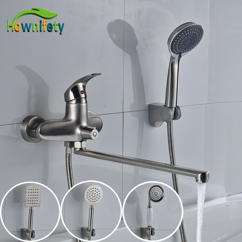Nickel Brushed Bathroom Tub Mixer Tap Single Handle Long Spout Tub Faucet with Hand Shower nickel brushed waterfall tub spout bath shower mixer faucet wall mounted single handle bathroom shower faucet with handshower