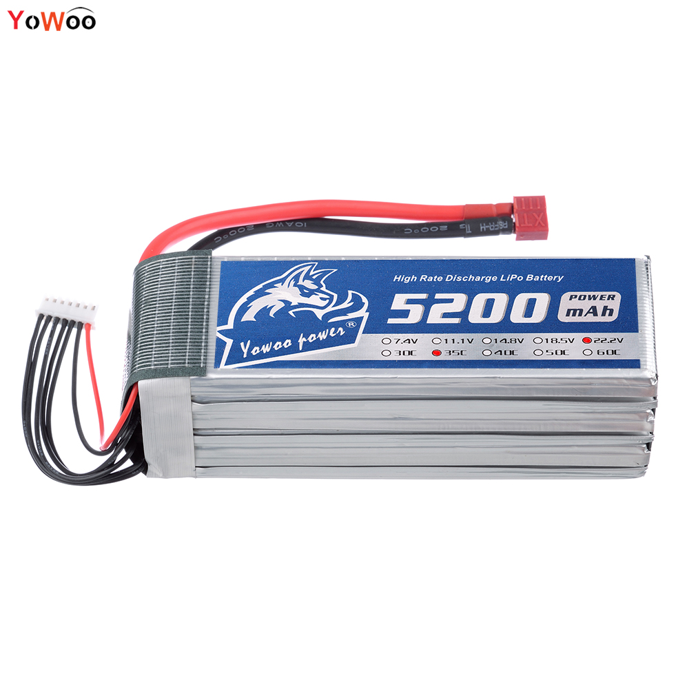 YOWOO Lipo 6S Battery 22.2v 5200mah 35C MAX 70C RC Bateria For Drone AKKU Helicopter Car RC Quadcopter UAV FPV xxl high power 3300mah 14 8v 4s 35c max 70c 4s1p akku lipo rc battery for trex 500 helicopter page 8