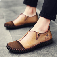 Man Casual Loafers Spring Autumn Mens Split Leather Shoes Khaki Black Retro Male Shoes Slip On Driving Loafers Fur Men