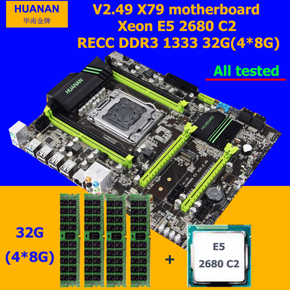 Sconto hardware Del Computer di marca HUANAN ZHI X79 scheda madre con M.2 slot CPU Intel Xeon E5 2680 2.7 GHz RAM 32G (4*8G) 1600 RECC