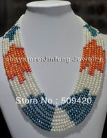 ~~ Free ShippingWOW! 18 22 Genuine 8rows 4 5mm freshwater pearl Necklace