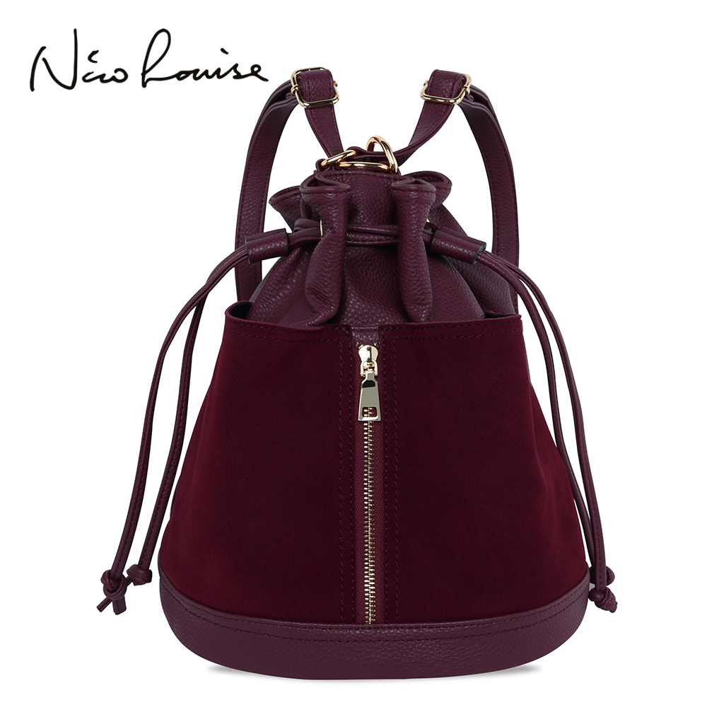 New Fashion Women's Bag Backpack Female Luxury Suede Leather Bucket Shoulder Bag Women Crossbody Ladies Hand Bags Sac A Main