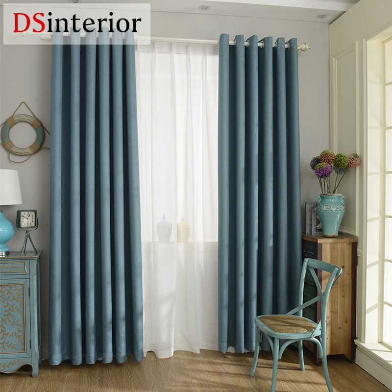 Dsinterior Modern Style Solid Color Faux Plain Linen Blackout Curtain For Living Room Window