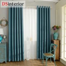 DSinterior estilo moderno de imitación de color sólido llano lino Blackout cortina de ventana de la sala por encargo