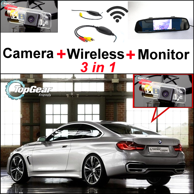 Special Backup WiFi Camera + Wireless Receiver + Mirror Monitor 3in1 Rear View Easy DIY Parking System For BMW 4 / M4 3in1 diy for lexus gx470 2002 2009 wireless wifi bluetooth backup rear view reverse rearview camera camara