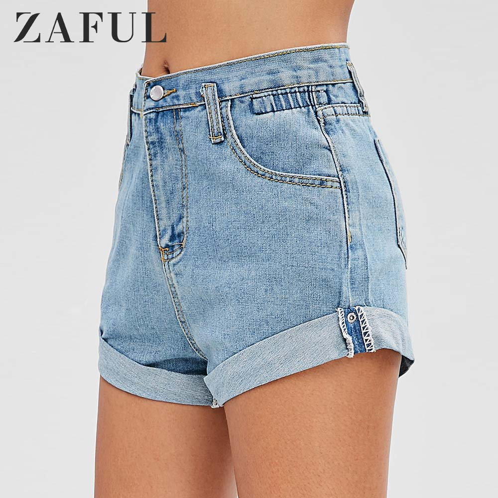 ZAFUL High Waisted Denim Cuffed Shorts Zipper Fly Solid Jeans Women Summer Pants Fashion Casual Solid Blue Streetwear