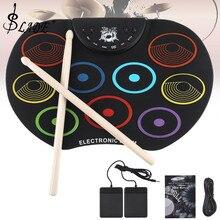 SLADE Портативный электронный цифровой USB 9 подушечек красочный свернутый набор силиконовый Электрический барабанный комплект с барабанными палочками и поддерживающей педалью